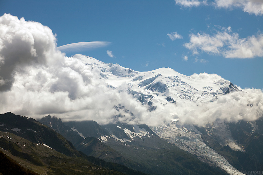 Looking back to the Mont Blanc massif, above Chamonix, France.