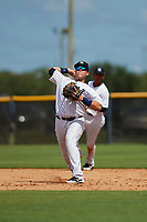 New York Yankees Andres Chaparro (32) throws to first base during an Instructional League game against the Baltimore Orioles on September 23, 2017 at the Yankees Minor League Complex in Tampa, Florida.  (Mike Janes/Four Seam Images)