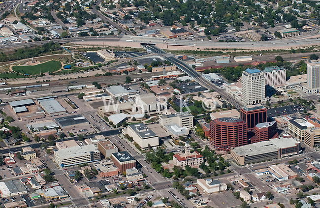 Aerial of downtown Colorado Springs, CO