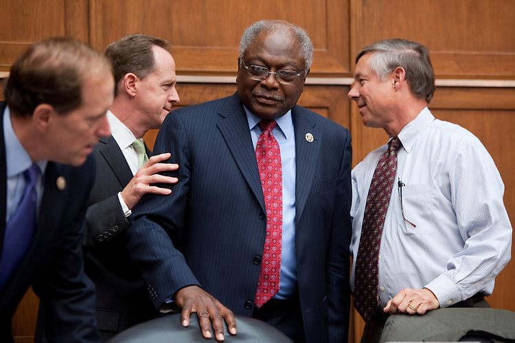UNITED STATES - SEPTEMBER 8: From left, Rep. Dave Camp, R-Mich., Sen. Pat Toomey, R-Pa., Rep. James Clyburn, D-S.C., and Rep. Fred Upton, R-S.C., arrive for the first Joint Deficit Reduction Committee meeting on Thursday, Sept. 8, 2011 (Photo By Bill Clark/Roll Call)