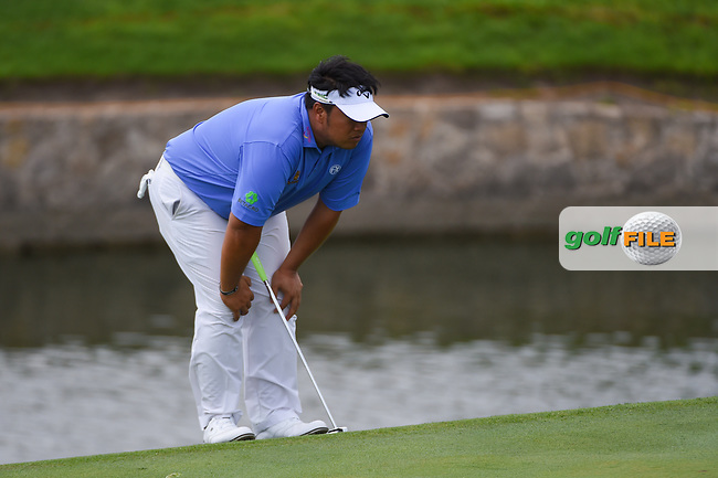 Kiradech Aphibarnrat (THA) lines up his putt on 18 during round 1 of the 2019 Charles Schwab Challenge, Colonial Country Club, Ft. Worth, Texas,  USA. 5/23/2019.<br /> Picture: Golffile | Ken Murray<br /> <br /> All photo usage must carry mandatory copyright credit (© Golffile | Ken Murray)