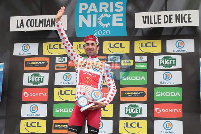 Nicolas Edet (FRA) Cofidis wins the mountains Polka Dot Jersey at the end of Stage 7 of the 78th edition of Paris-Nice 2020, running 166.5km from Nice to Valdeblore La Colmiane, France. 14th March 2020.<br /> Picture: ASO/Fabien Boukla | Cyclefile<br /> All photos usage must carry mandatory copyright credit (© Cyclefile | ASO/Fabien Boukla)