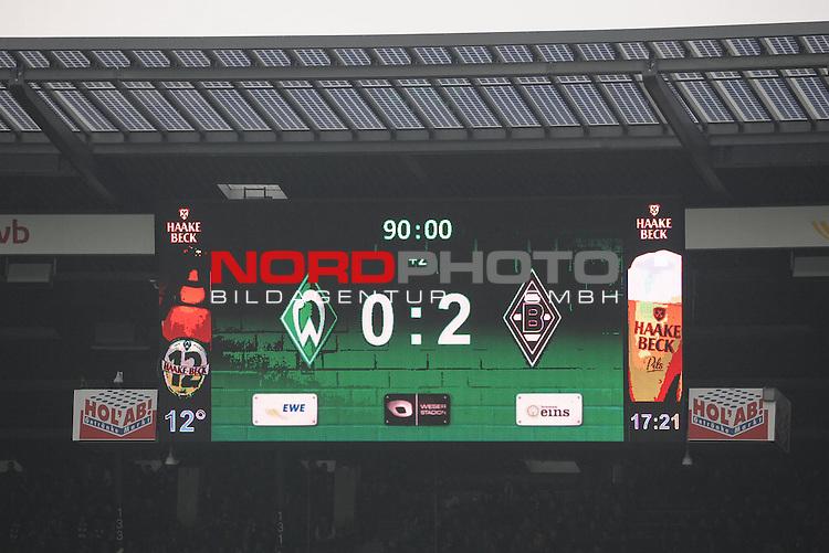 16.05.2015, Weserstadion, Bremen, GER, 1.FBL, Werder Bremen vs Borussia M&ouml;nchengladbach / Moenchengladbach, im Bild Anzeigetafel mit dem Endstand<br /> <br /> Foto &copy; nordphoto / Frisch