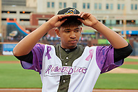 """Akron RubberDucks Jonathan Lopez (32) before an Eastern League game against the Erie SeaWolves on August 30, 2019 at Canal Park in Akron, Ohio.  Akron wore special jerseys with the slogan """"Fight Like a Kid"""" during the game for Akron Children's Hospital Home Run for Life event, the design was created by 11 year old Macy Carmichael.  Erie defeated Akron 3-2.  (Mike Janes/Four Seam Images)"""