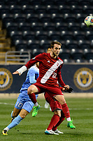 Chester, PA - Friday December 08, 2017: Spencer Glass during an NCAA Men's College Cup semifinal soccer match between the North Carolina Tar Heels and the Indiana Hoosiers at Talen Energy Stadium.