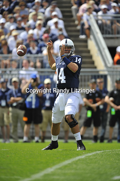 07 September 2013:  Penn State QB Christian Hackenberg (14) has the ball slip out of his hand as he fumbles during a pass attempt, which was recovered for a touchdown. The Penn State Nittany Lions defeated the Eastern Michigan Eagles at Beaver Stadium in State College, PA.