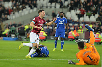 Lucas Of West Ham United scores the first Goal and celebrates  during West Ham United vs Cardiff City, Premier League Football at The London Stadium on 4th December 2018