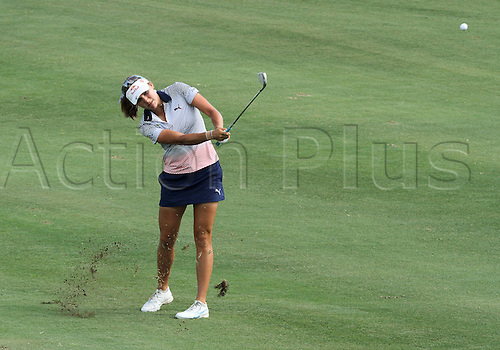 30.08.2015. Prattville, AL, USA.  Lexi Thompson of Coral Springs, Florida drives from the fifteenth fairway during the final round of the Yokohama Tire LPGA Classic at the RTJ Capitol Hill Golf Course in Prattville, AL.