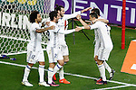 Real Madrid's Marcelo Vieira, Isco Alarcon, Garet Bale, Lucas Vazquez and Cristiano Ronaldo celebrate goal during La Liga match. November 19,2016. (ALTERPHOTOS/Acero)