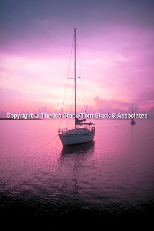Sailboat at anchor in Florida Bay off Islamorada, FL Keys