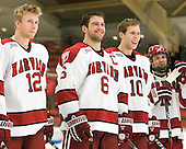 Colin Moore (Harvard - 12), Ryan Grimshaw (Harvard - 6), Eric Kroshus (Harvard - 10) (Moriarty) - The Harvard University Crimson defeated the visiting Clarkson University Golden Knights 3-2 on Harvard's senior night on Saturday, February 25, 2012, at Bright Hockey Center in Cambridge, Massachusetts.