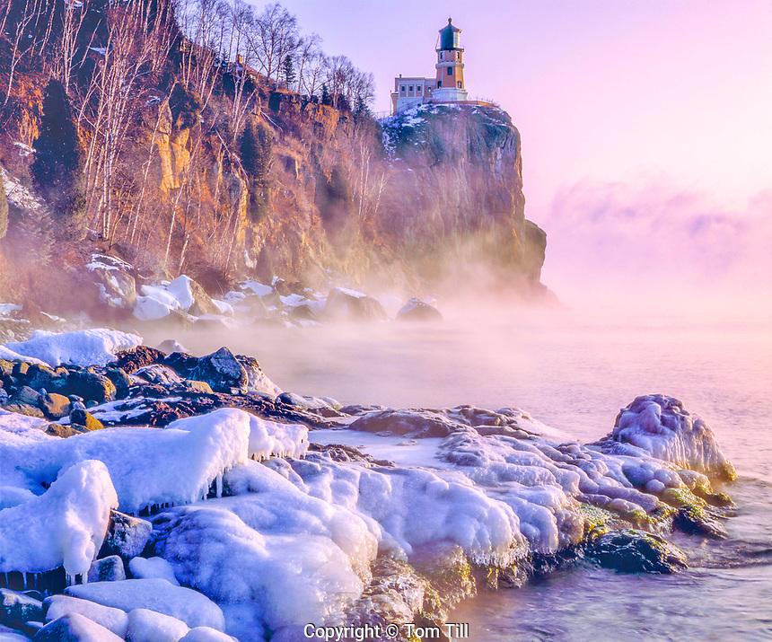 Freezing Winter Morning at Split Rock Lighthouse, Split Rock Lighthouse State Park, North Shore of Lake Superior, Minnesota