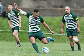James Faiva kicks a penalty for Manurewa. Counties Manukau Premier Counties Power Club Rugby Round 4 game between Bombay and Manurewa, played at Bombay on Saturday March 31st 2018. <br /> Manurewa won the game 25 - 17 after trailing 15 - 17 at halftime.<br /> Bombay 17 - Ki Anufe, Chay Macwood tries, Tim Cossens, Ki Anufe conversions,  Ki Anufe penalty. <br /> Manurewa Kidd Contracting 25 - Peter White 2 , Willie Tuala 2 tries, James Faiva conversion,  James Faiva penalty.<br /> Photo by Richard Spranger.