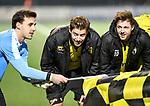 2018-02-17 / voetbal / seizoen 2017-2018 / Oosterzonen - Berchem / vlnr Bruno Appels (Berchem), Tim Verstraeten (Berchem) en Stef Van den Heuvel (Berchem) vieren een feestje na de winst op Oosterzonen