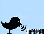 Concept image of a twitter bird speaking to a large group of people depicting giving out information