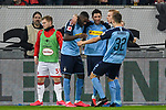 15.02.2020, Merkur Spiel-Arena, Duesseldorf, GER, 1. BL, Fortuna Duesseldorf vs. Borussia Moenchengladbach, DFL regulations prohibit any use of photographs as image sequences and/or quasi-video<br /> <br /> im Bild / picture shows: Lars Stindl (#13, Borussia Moenchengladbach) jubelt nach seinem Tor zum 1:2 mit Marcus Thuram  (#10, Borussia Moenchengladbach) Oscar Wendt (#17, Borussia Moenchengladbach) Florian Neuhaus (#32, Borussia Moenchengladbach) <br /> <br /> Foto © nordphoto/Mauelshagen