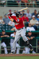 Frisco Roughriders third baseman Ryan Rua (15) at bat in the Texas League baseball game against the San Antonio Missions on August 22, 2013 at the Nelson Wolff Stadium in San Antonio, Texas. Frisco defeated San Antonio 2-1. (Andrew Woolley/Four Seam Images)