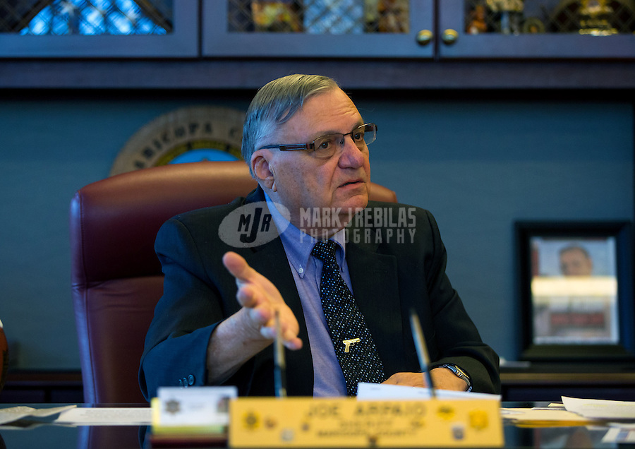 Jan 21, 2015; Phoenix, AZ, USA; Maricopa County sheriff Joe Arpaio reacts in his office in downtown Phoenix. Mandatory Credit: Mark J. Rebilas-