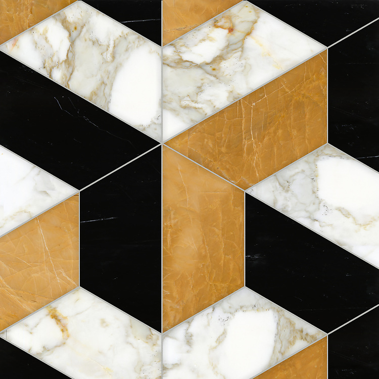 Francois Grandiose, a hand-cut stone mosaic, shown in polished Calacatta Baroque, Xanadu, and Nero Marquina, is part of the Semplice® collection for New Ravenna.