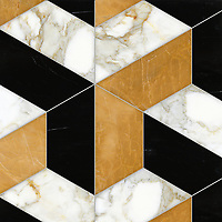 Francois Grandiose, a hand-cut stone mosaic, shown in polished Calacatta Baroque, Xanadu, and Nero Marquina, is part of the Semplice™ collection for New Ravenna.