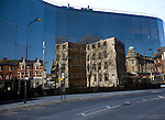 Buildings reflected in glass of award winning Willis Corroon building, architect Norman Foster, Ipswich