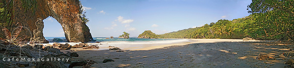 Paria beach with sea arch, north coast, Trinidad, Panoramic compilation
