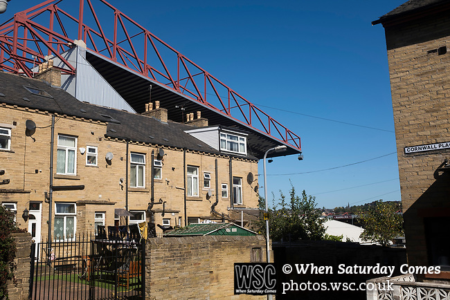 Bradford City 3, Carlisle United 1, 21/09/2019. Valley Parade, EFL League 2.  An exterior view of the ground before Bradford City played Carlisle United in a Skybet League 2 fixture at Valley Parade. The home team were looking to bounce back after being relegated during a disastrous 2018-19 season on and off the pitch. Bradford won the match 3-1, watched by a crowd of 14, 217. Photo by Colin McPherson.