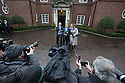 Irish Prime Minister Enda Kenny address the media as he and his government team arrive to meet Britain's Prime Minister David Cameron at Stormont House for day one of a cross-party talks in Belfast, Northern Ireland, Thursday Dec 11, 2014. David Cameron and the Irish Prime Minister Enda Kenny are hoping to secure agreement in the talks concerning disputes on flags, parades, the past and welfare reform. Photo/Paul McErlane
