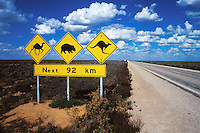 Wildlife advisory sign on the Eyre Highway, Western Australia.