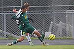 Palos Verdes, CA 02/07/12 - Scott Barnes (Peninsula #16) in action during the Mira Costa vs Peninsula Boys Varsity soccer bay league game.
