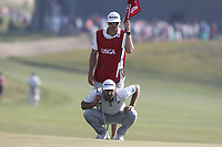Dustin Johnson (USA) lines up a putt on the 14th hole during the 118th U.S. Open Championship at Shinnecock Hills Golf Club in Southampton, NY, USA. 17th June 2018.<br /> Picture: Golffile | Brian Spurlock<br /> <br /> <br /> All photo usage must carry mandatory copyright credit (&copy; Golffile | Brian Spurlock)