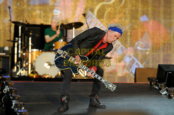 Keith Richards of The Rolling Stones <br /> performing at Barclaycard British Summertime, Hyde Park, London, England, UK, <br /> 13th July 2013.<br /> music concert gig festival live on stage full length blue head scarf red shirt grey gray blazer jacket playing guitar bending <br /> CAP/MAR <br /> &copy; Martin Harris/Capital Pictures