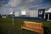 View of the large scoreboard within the media compound during the practice days before the 2014 Alfred Dunhill Links Championship, The Old Course, St Andrews, Fife, Scotland. Picture:  David Lloyd / www.golffile.ie