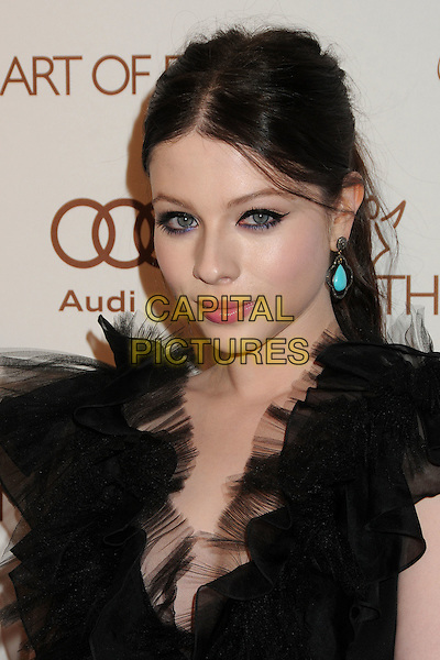 Michelle Trachtenberg.5th Annual Art Of Elysium Heaven Gala held at Union Station, Los Angeles, California, USA, 14th January 2012..arrivals portrait headshot  hair up eyeliner make-up turquoise earrings  black tulle ruffle neckline  beauty .CAP/ADM/BP.©Byron Purvis/AdMedia/Capital Pictures.