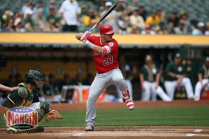OAKLAND, CA - SEPTEMBER 6:  Mike Trout #27 of the Los Angeles Angels of Anaheim bats against the Oakland Athletics during the game at the Oakland Coliseum on Wednesday, September 6, 2017 in Oakland, California. (Photo by Brad Mangin)