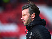 Lincoln City's assistant manager Nicky Cowley during the pre-match warm-up<br /> <br /> Photographer Andrew Vaughan/CameraSport<br /> <br /> The EFL Sky Bet League Two - Lincoln City v Mansfield Town - Saturday 24th November 2018 - Sincil Bank - Lincoln<br /> <br /> World Copyright &copy; 2018 CameraSport. All rights reserved. 43 Linden Ave. Countesthorpe. Leicester. England. LE8 5PG - Tel: +44 (0) 116 277 4147 - admin@camerasport.com - www.camerasport.com