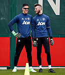 Joel Castro Pereira of Manchester United wears sunglasses beside David De Gea during the Manchester United open training session at the Carrington Training Centre, Manchester. Picture date: May 19th 2017. <br /> Pic credit should read: Matt McNulty/Sportimage