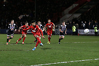 O's Lee Angol converts the penalty to equalise for the O's during Leyton Orient vs Grimsby Town, Sky Bet EFL League 2 Football at The Breyer Group Stadium on 11th January 2020