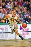 4 February 2014: University of Vermont Catamount Guard Candon Rusin, a Senior from Wilmington, VT, in action against the University of Maine Black Bears at Patrick Gymnasium in Burlington, Vermont. The Cats defeated the Bears 93-65 improving to 9-1 in America East and 15-9 overall. Mandatory Credit: Ed Wolfstein Photo *** RAW (NEF) Image File Available ***