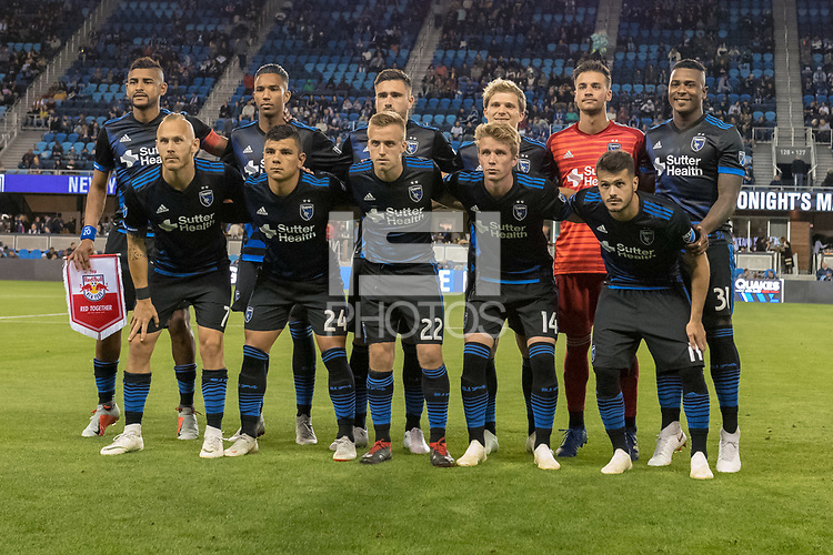 San Jose, CA - Thursday January 21, 2016: San Jose Earthquakes Starting Eleven prior to a Major League Soccer (MLS) match between the San Jose Earthquakes and the New York Red Bulls at Avaya Stadium.