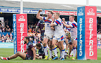 Picture by Allan McKenzie/SWpix.com - 08/04/2018 - Rugby League - Betfred Super League - Wakefield Trinity v Leeds Rhinos - The Mobile Rocket Stadium, Wakefield, England - Wakefield's Matty Ashurst celebrates his try against Leeds with Jacob MIller.