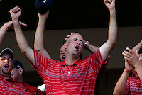 Captain Paul Azinger leads the celebrations with Stewart Cink at the clubhouse victory over Europe after the Singles on the Final Day of the Ryder Cup at Valhalla Golf Club, Louisville, Kentucky, USA, 21st September 2008 (Photo by Eoin Clarke/GOLFFILE)