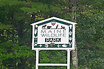 Sign for the Maine Wildlife Park, Gray, Maine, USA