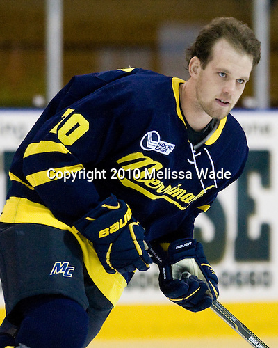 Bobby Kramer (Merrimack - 10) - The Merrimack College Warriors defeated the visiting Sweden Under 20 team 4-1 on Tuesday, November 2, 2010, at Lawler Arena in North Andover, Massachusetts.