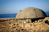 Bunker am Strand von Dhermi in Albanien , am 31.05.2008 . Travel Reise Europa Balkan Suedosteuropa Osteuropa Albania Urlaub  Tourismus tourism .