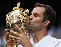Roger Federer (SUI) kisses the Gentleman Trophy after winning the Wimbledon Mens Title, defeating Marin Cilic (CRO), Wimbledon Championships 2017, Day 13, Mens Final, All England Lawn Tennis & Croquet Club, Church Rd, London, United Kingdom - 16th July 2017