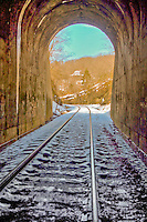 Train tunnel at Winslow Arkansas was completed in 1882 at a cost of $200,00 and is 428 feet long.