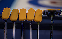 Glasgow. SCOTLAND.  A set of  Scotlands,  &quot;Brushes&quot; used for teh &quot;sweeping&quot; leaning against a board waiting for the start of the Scotland vs Italy, &quot;Round Robin&quot; Game. Le Gruy&egrave;re European Curling Championships. 2016 Venue, Braehead  Scotland<br /> Wednesday  23/11/2016<br /> <br /> [Mandatory Credit; Peter Spurrier/Intersport-images]