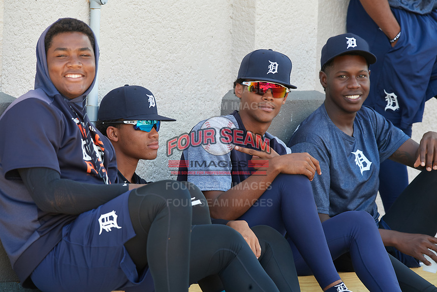 Detroit Tigers Sandel Le La Cruz, Wenceel Perez, Eilvin Rodriguez, and Jose Appleton during an Instructional League game against the Philadelphia Phillies on September 19, 2019 at Tigertown in Lakeland, Florida.  (Mike Janes/Four Seam Images)