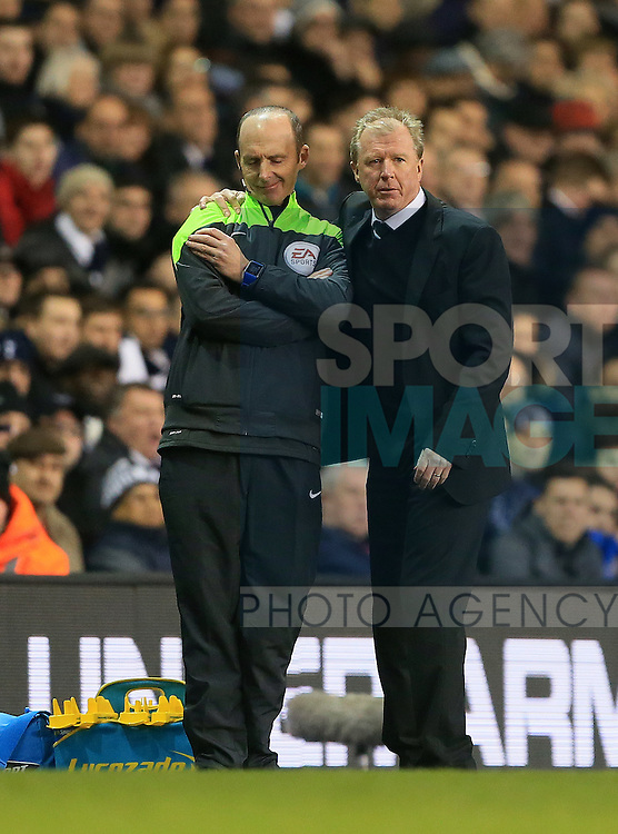 Newcastle's Steve McClaren with Mike Dean<br /> <br /> Barclays Premier League- Tottenham Hotspur vs Newcastle United - White Hart Lane - England - 13th December 2015 - Picture David Klein/Sportimage